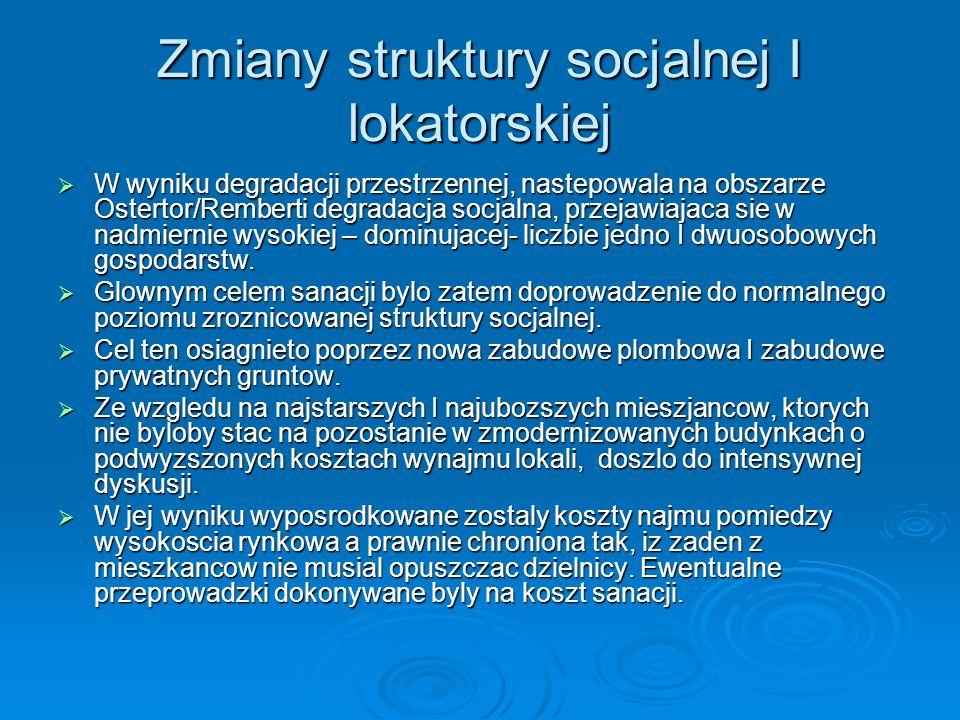 Zmiany struktury socjalnej I lokatorskiej W wyniku degradacji przestrzennej, nastepowala na obszarze Ostertor/Remberti degradacja socjalna, przejawiaj