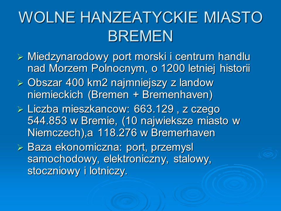 WOLNE HANZEATYCKIE MIASTO BREMEN Miedzynarodowy port morski i centrum handlu nad Morzem Polnocnym, o 1200 letniej historii Miedzynarodowy port morski