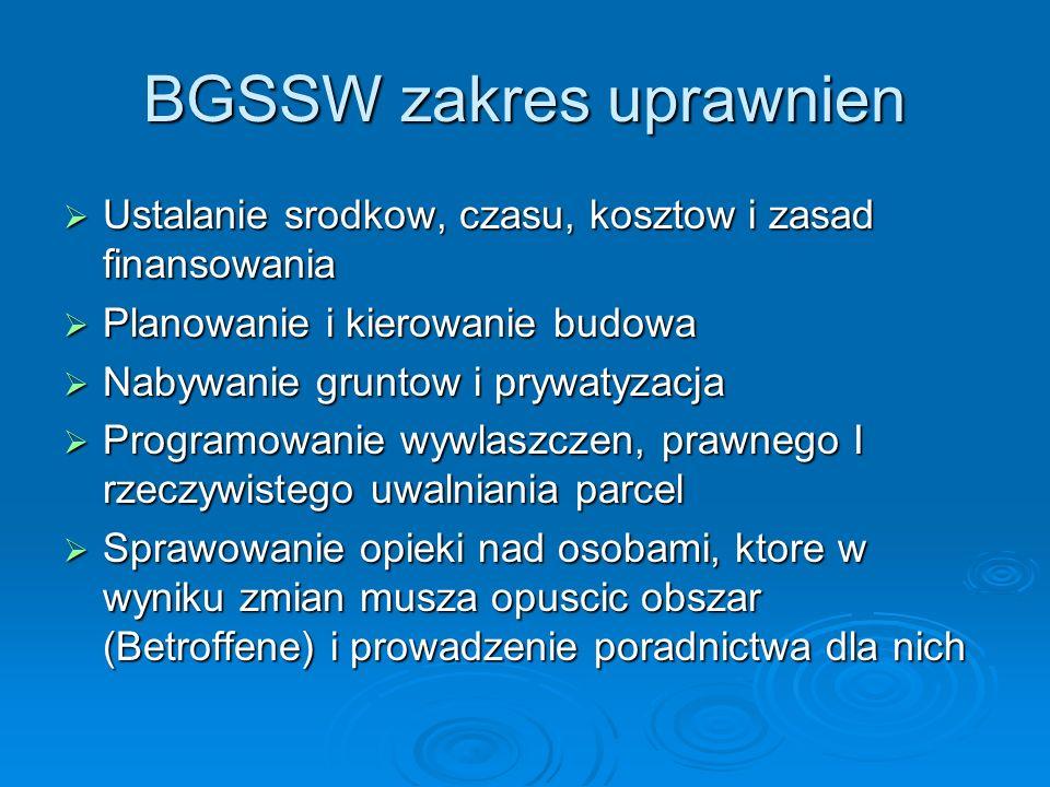 BGSSW zakres uprawnien Ustalanie srodkow, czasu, kosztow i zasad finansowania Ustalanie srodkow, czasu, kosztow i zasad finansowania Planowanie i kier