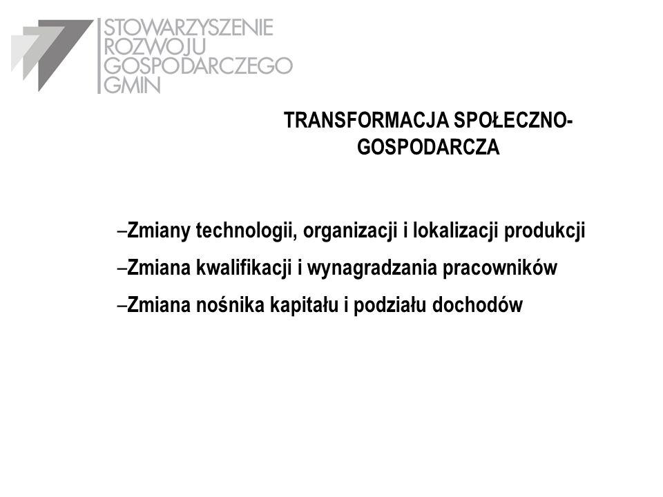 TRANSFORMACJA SPOŁECZNO- GOSPODARCZA – Zmiany technologii, organizacji i lokalizacji produkcji – Zmiana kwalifikacji i wynagradzania pracowników – Zmi