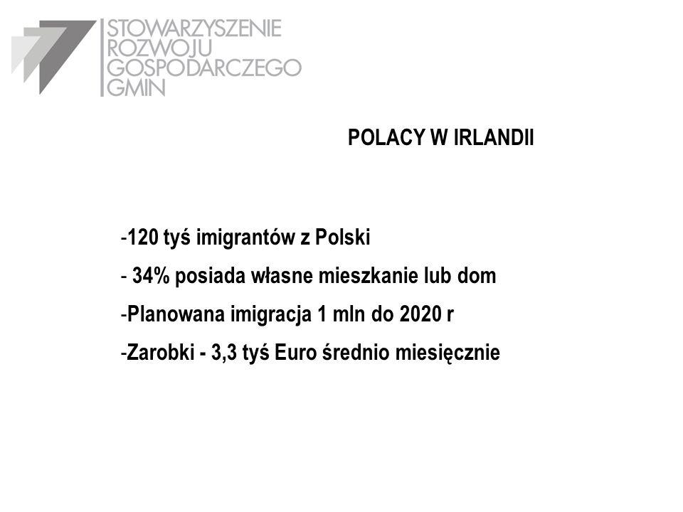 POLACY W IRLANDII - 120 tyś imigrantów z Polski - 34% posiada własne mieszkanie lub dom - Planowana imigracja 1 mln do 2020 r - Zarobki - 3,3 tyś Euro