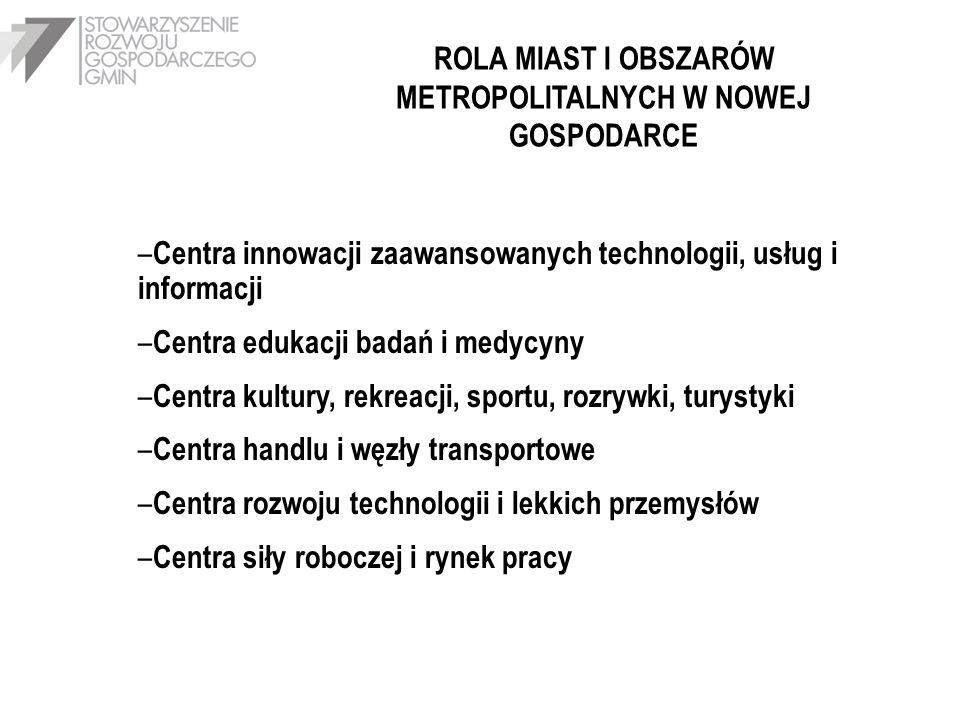 ROLA MIAST I OBSZARÓW METROPOLITALNYCH W NOWEJ GOSPODARCE – Centra innowacji zaawansowanych technologii, usług i informacji – Centra edukacji badań i