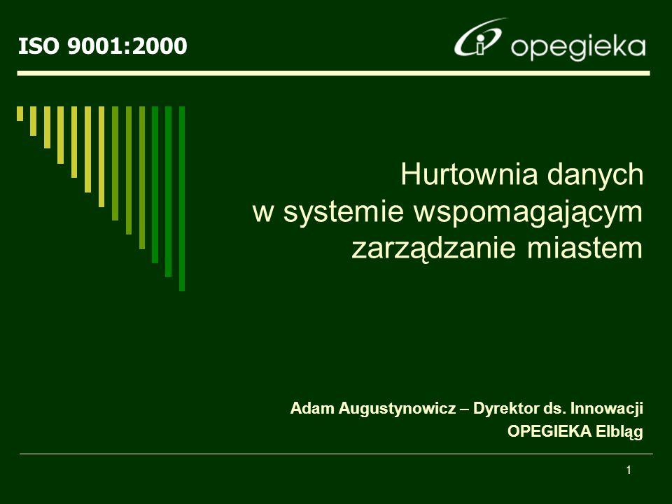 ISO 9001:2000 1 Hurtownia danych w systemie wspomagającym zarządzanie miastem Adam Augustynowicz – Dyrektor ds.