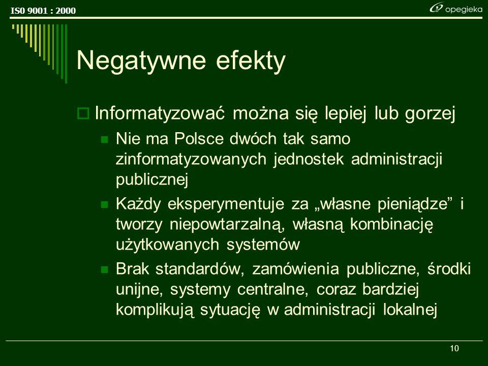 IS0 9001 : 2000 10 Negatywne efekty Informatyzować można się lepiej lub gorzej Nie ma Polsce dwóch tak samo zinformatyzowanych jednostek administracji publicznej Każdy eksperymentuje za własne pieniądze i tworzy niepowtarzalną, własną kombinację użytkowanych systemów Brak standardów, zamówienia publiczne, środki unijne, systemy centralne, coraz bardziej komplikują sytuację w administracji lokalnej