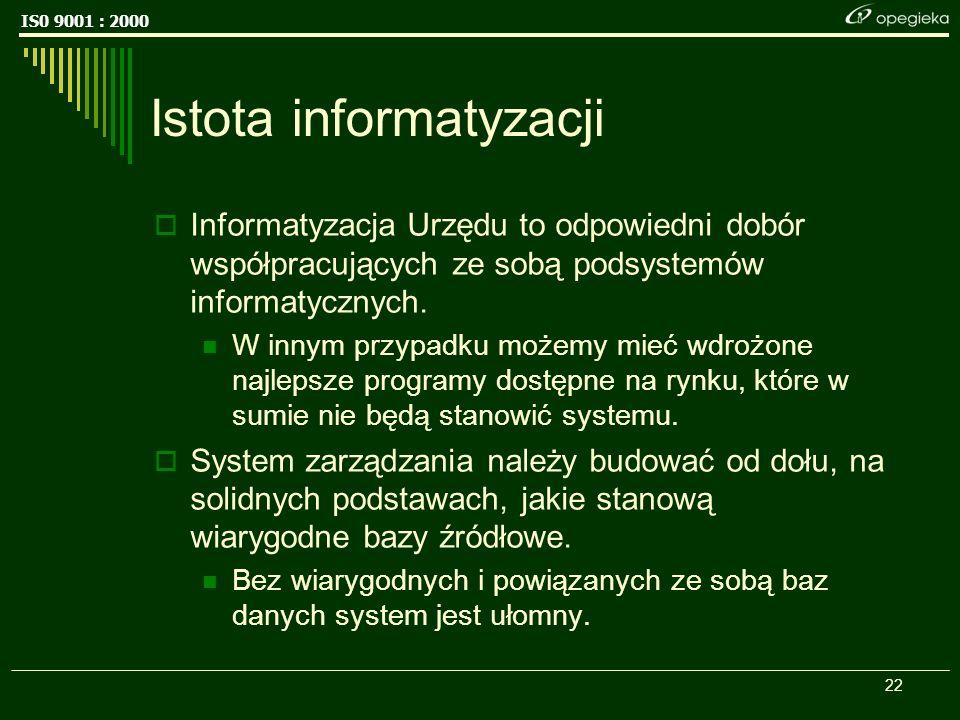 IS0 9001 : 2000 22 Istota informatyzacji Informatyzacja Urzędu to odpowiedni dobór współpracujących ze sobą podsystemów informatycznych.