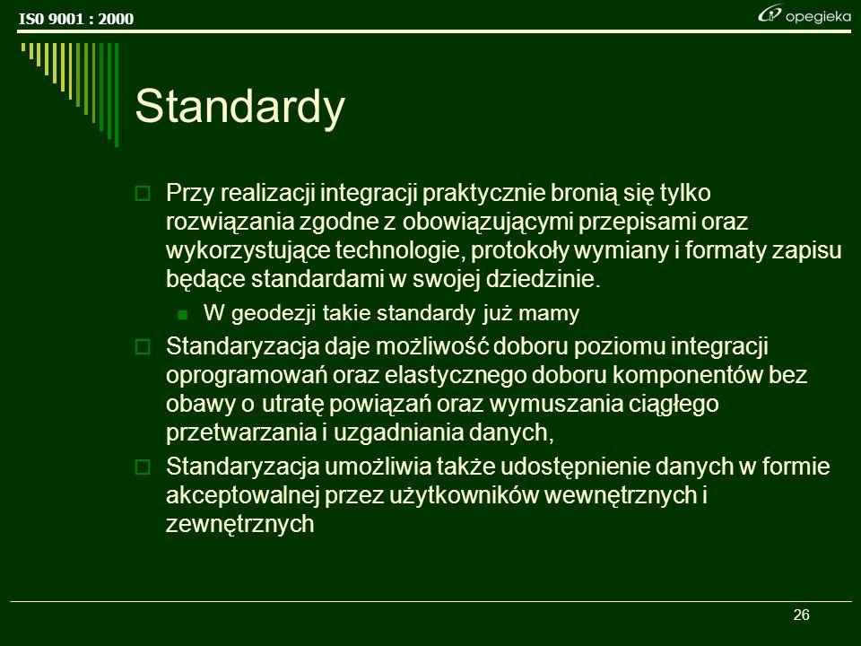 IS0 9001 : 2000 26 Standardy Przy realizacji integracji praktycznie bronią się tylko rozwiązania zgodne z obowiązującymi przepisami oraz wykorzystujące technologie, protokoły wymiany i formaty zapisu będące standardami w swojej dziedzinie.