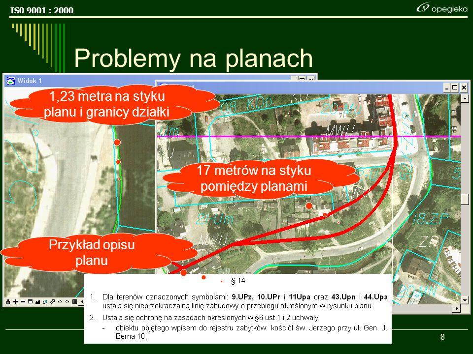 IS0 9001 : 2000 8 Problemy na planach 17 metrów na styku pomiędzy planami 1,23 metra na styku planu i granicy działki Przykład opisu planu