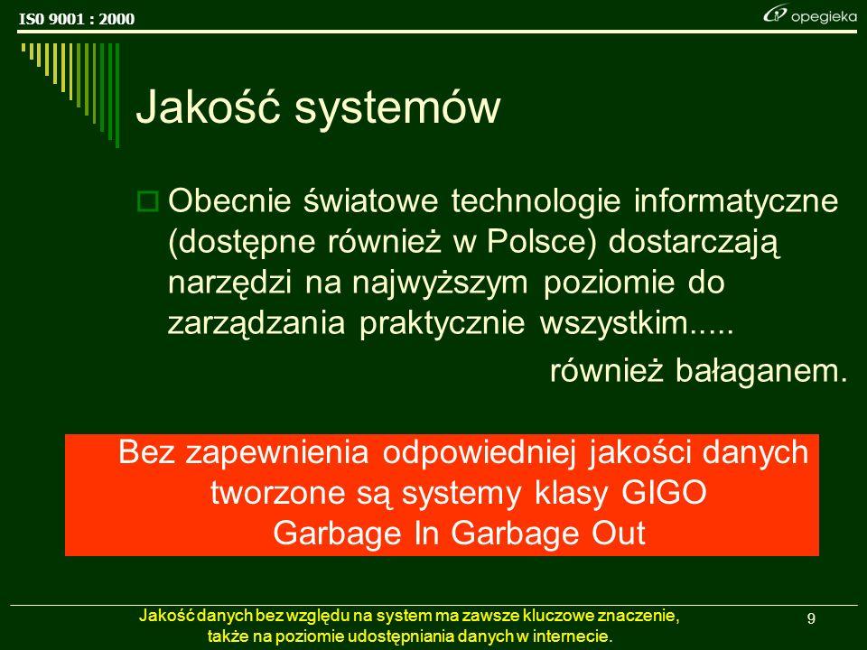 IS0 9001 : 2000 9 Jakość systemów Obecnie światowe technologie informatyczne (dostępne również w Polsce) dostarczają narzędzi na najwyższym poziomie do zarządzania praktycznie wszystkim.....