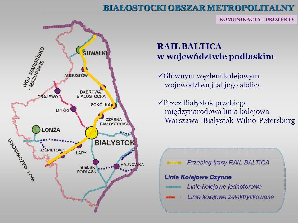 BIAŁOSTOCKI OBSZAR METROPOLITALNY RAIL BALTICA w województwie podlaskim Głównym węzłem kolejowym województwa jest jego stolica. Przez Białystok przebi