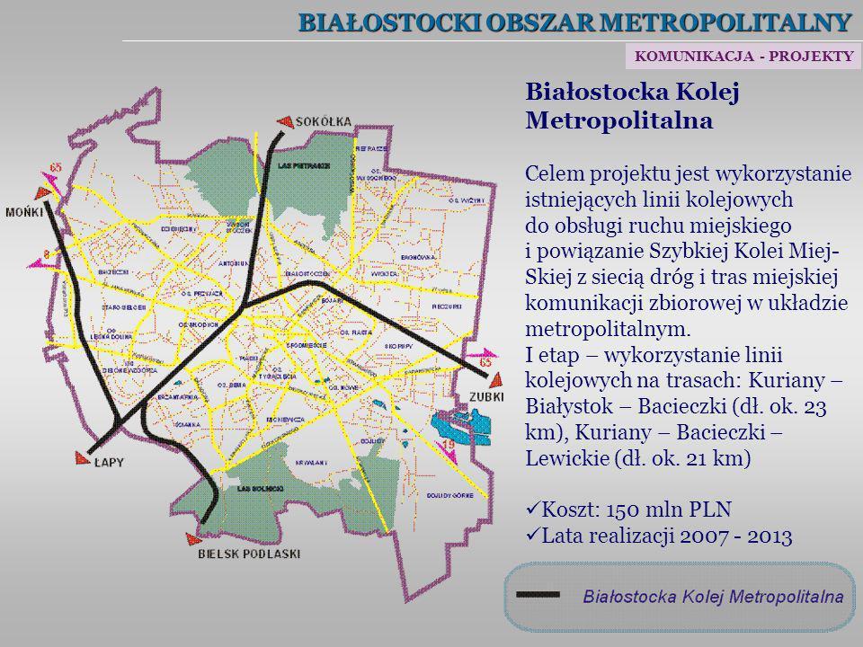 BIAŁOSTOCKI OBSZAR METROPOLITALNY Białostocka Kolej Metropolitalna Celem projektu jest wykorzystanie istniejących linii kolejowych do obsługi ruchu mi