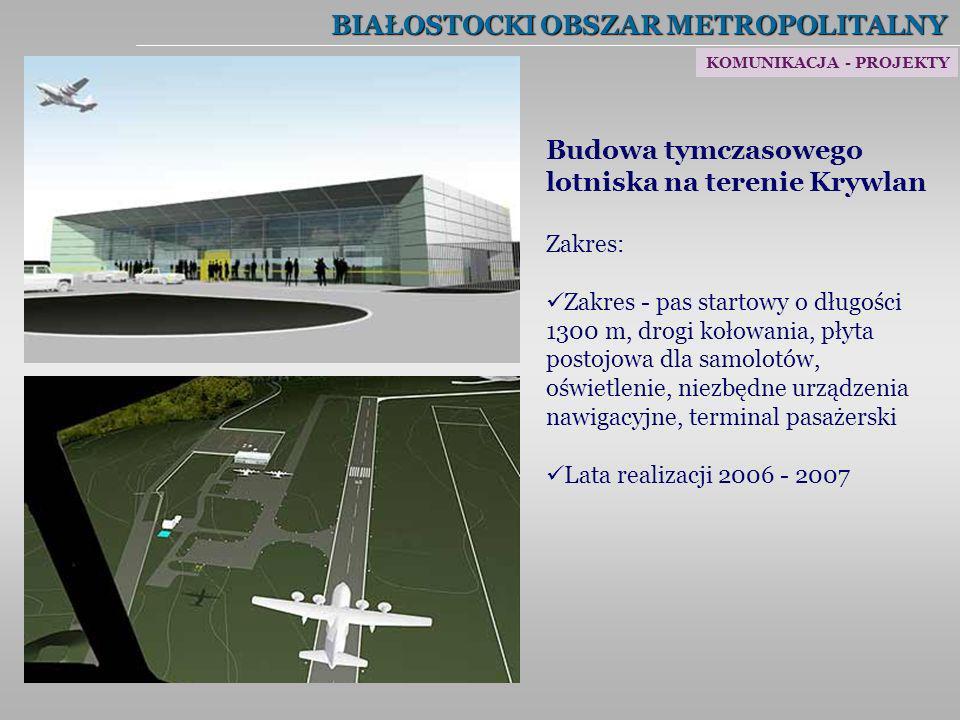 BIAŁOSTOCKI OBSZAR METROPOLITALNY KOMUNIKACJA - PROJEKTY Budowa tymczasowego lotniska na terenie Krywlan Zakres: Zakres - pas startowy o długości 1300