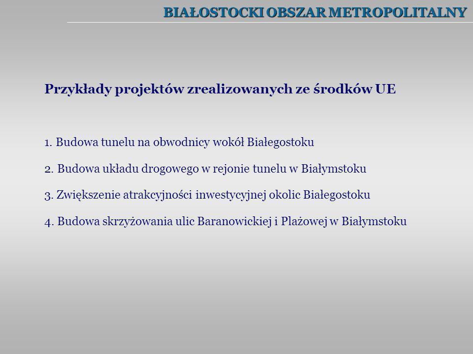 BIAŁOSTOCKI OBSZAR METROPOLITALNY 1. Budowa tunelu na obwodnicy wokół Białegostoku 2. Budowa układu drogowego w rejonie tunelu w Białymstoku 3. Zwięks
