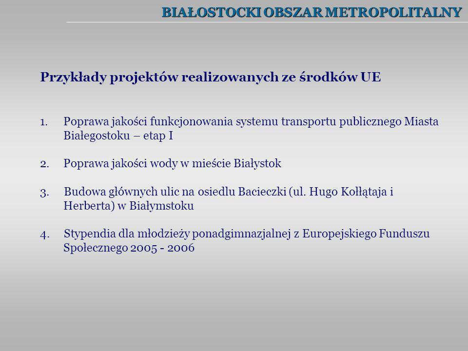 BIAŁOSTOCKI OBSZAR METROPOLITALNY Przykłady projektów realizowanych ze środków UE 1.Poprawa jakości funkcjonowania systemu transportu publicznego Mias