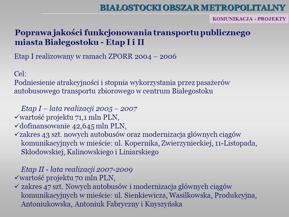 BIAŁOSTOCKI OBSZAR METROPOLITALNY Poprawa jakości funkcjonowania transportu publicznego miasta Białegostoku - Etap I i II Etap I realizowany w ramach