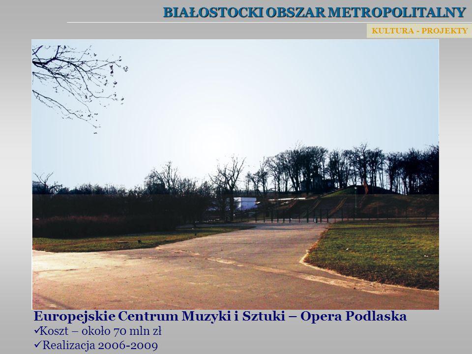 BIAŁOSTOCKI OBSZAR METROPOLITALNY Europejskie Centrum Muzyki i Sztuki – Opera Podlaska Koszt – około 70 mln zł Realizacja 2006-2009 KULTURA - PROJEKTY