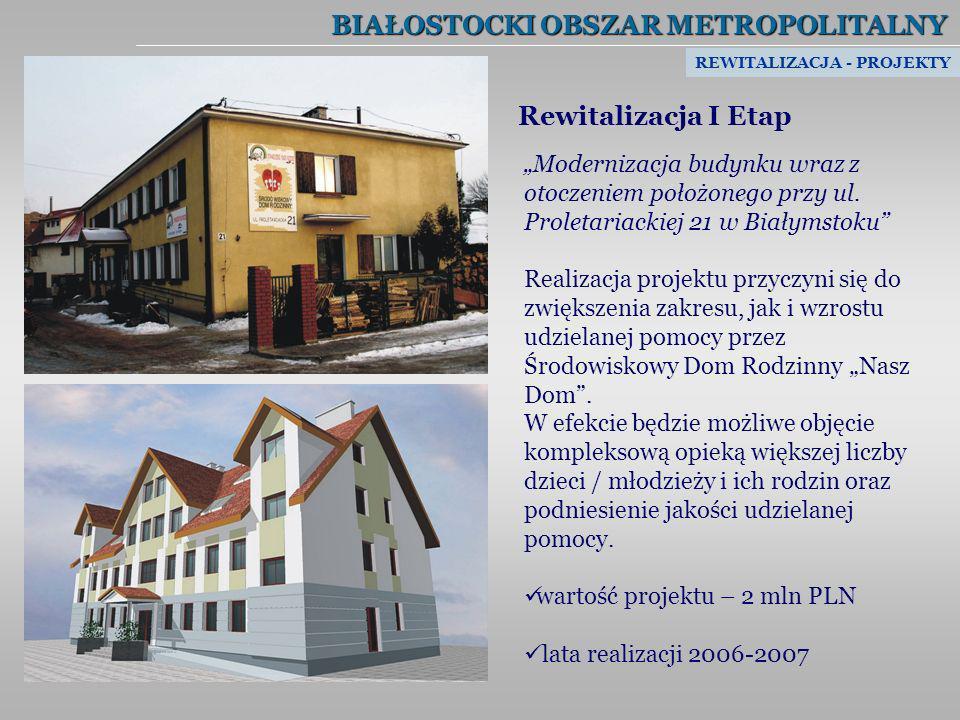 BIAŁOSTOCKI OBSZAR METROPOLITALNY Rewitalizacja I Etap Modernizacja budynku wraz z otoczeniem położonego przy ul. Proletariackiej 21 w Białymstoku Rea