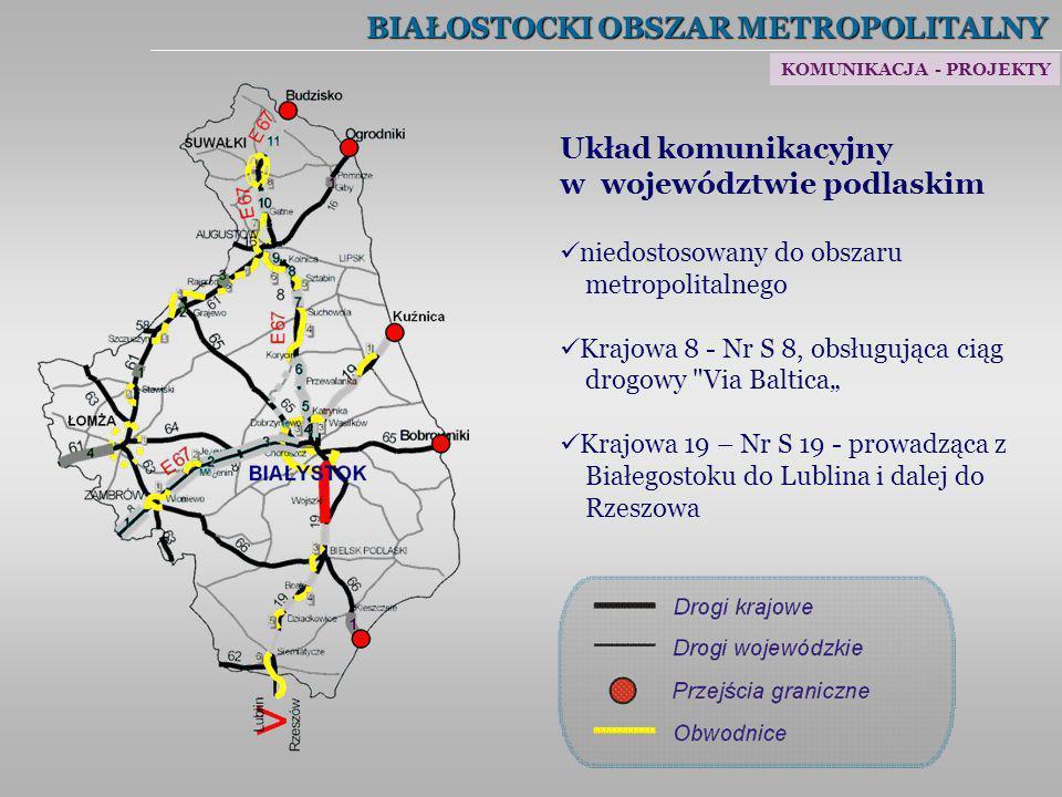 BIAŁOSTOCKI OBSZAR METROPOLITALNY Układ komunikacyjny w województwie podlaskim niedostosowany do obszaru metropolitalnego Krajowa 8 - Nr S 8, obsługuj