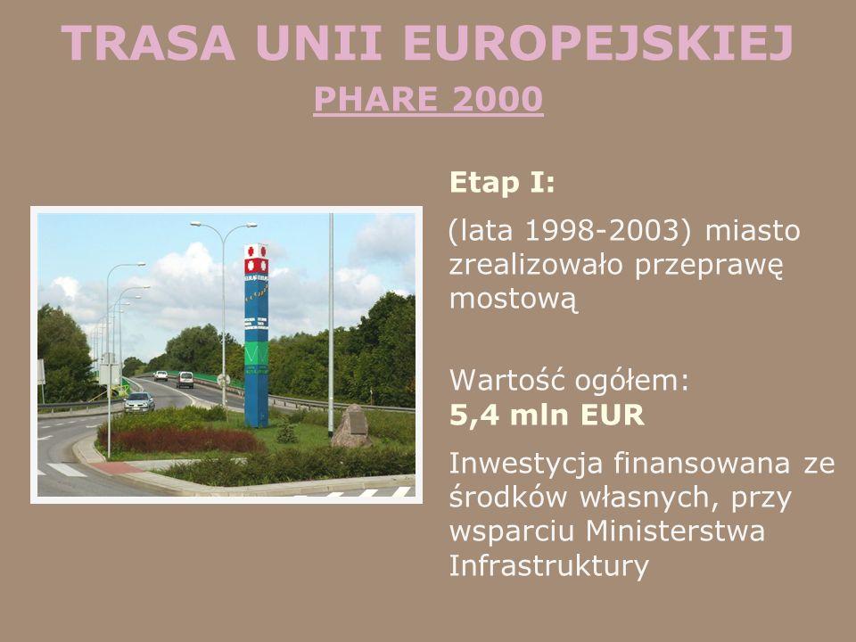 TRASA UNII EUROPEJSKIEJ PHARE 2000 Etap I: (lata 1998-2003) miasto zrealizowało przeprawę mostową Wartość ogółem: 5,4 mln EUR Inwestycja finansowana z