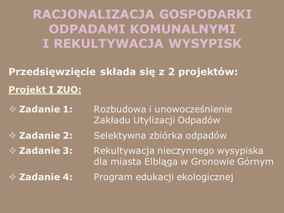 Przedsięwzięcie składa się z 2 projektów: Projekt I ZUO: Zadanie 1: Rozbudowa i unowocześnienie Zakładu Utylizacji Odpadów Zadanie 2: Selektywna zbiór
