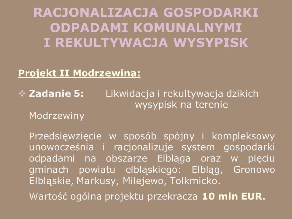 Projekt II Modrzewina: Zadanie 5: Likwidacja i rekultywacja dzikich wysypisk na terenie Modrzewiny Przedsięwzięcie w sposób spójny i kompleksowy unowo