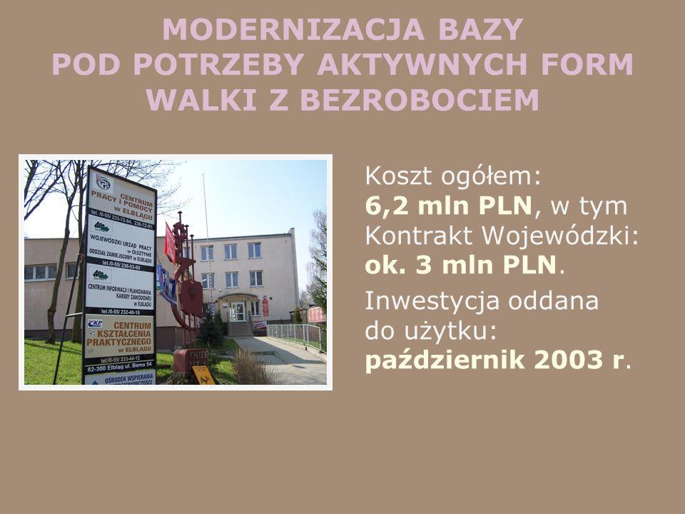MODERNIZACJA BAZY POD POTRZEBY AKTYWNYCH FORM WALKI Z BEZROBOCIEM Koszt ogółem: 6,2 mln PLN, w tym Kontrakt Wojewódzki: ok. 3 mln PLN. Inwestycja odda