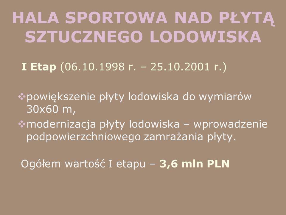 HALA SPORTOWA NAD PŁYTĄ SZTUCZNEGO LODOWISKA I Etap (06.10.1998 r. – 25.10.2001 r.) powiększenie płyty lodowiska do wymiarów 30x60 m, modernizacja pły