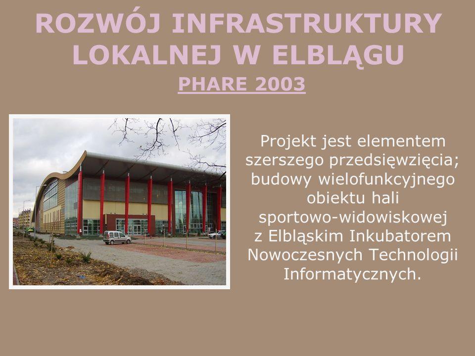 ROZWÓJ INFRASTRUKTURY LOKALNEJ W ELBLĄGU PHARE 2003 Projekt jest elementem szerszego przedsięwzięcia; budowy wielofunkcyjnego obiektu hali sportowo-wi