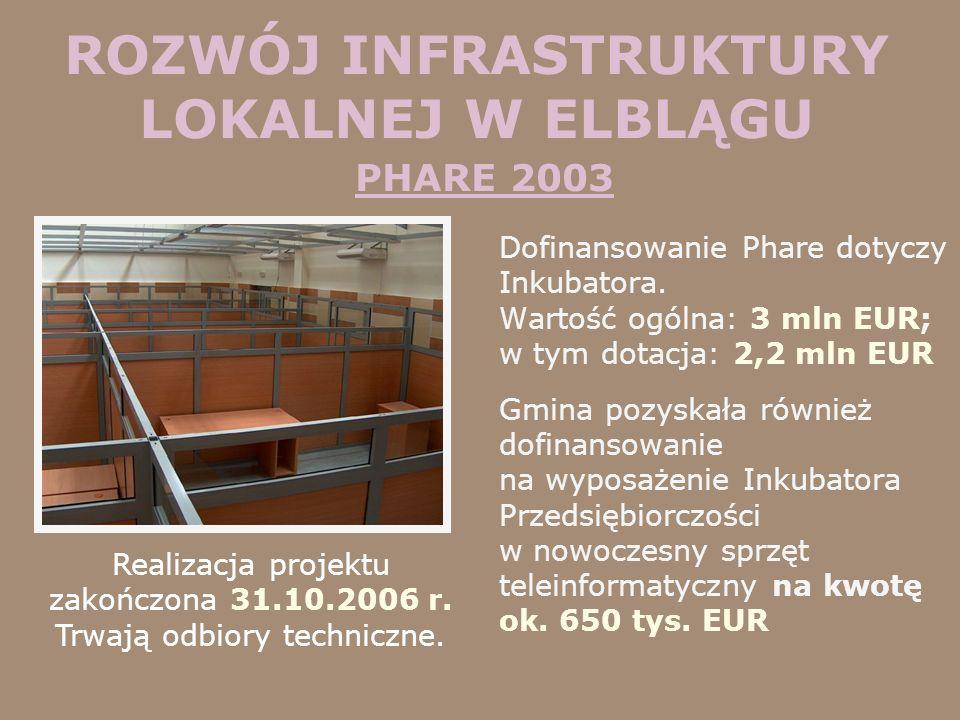 ROZWÓJ INFRASTRUKTURY LOKALNEJ W ELBLĄGU PHARE 2003 Dofinansowanie Phare dotyczy Inkubatora. Wartość ogólna: 3 mln EUR; w tym dotacja: 2,2 mln EUR Gmi