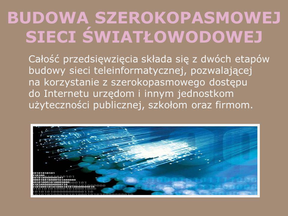 BUDOWA SZEROKOPASMOWEJ SIECI ŚWIATŁOWODOWEJ Całość przedsięwzięcia składa się z dwóch etapów budowy sieci teleinformatycznej, pozwalającej na korzysta