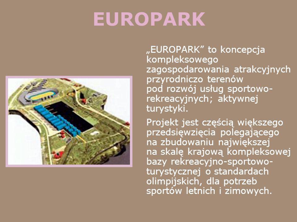 EUROPARK EUROPARK to koncepcja kompleksowego zagospodarowania atrakcyjnych przyrodniczo terenów pod rozwój usług sportowo- rekreacyjnych; aktywnej tur