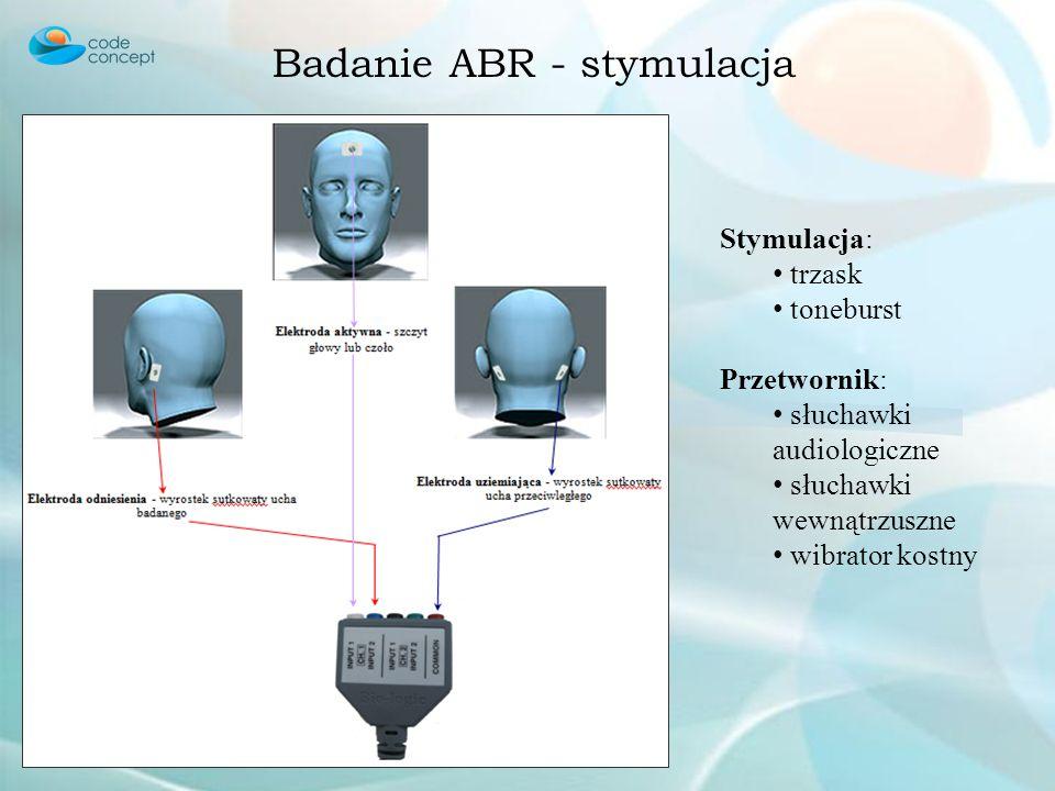 Badanie ABR - stymulacja Stymulacja: trzask toneburst Przetwornik: słuchawki audiologiczne słuchawki wewnątrzuszne wibrator kostny