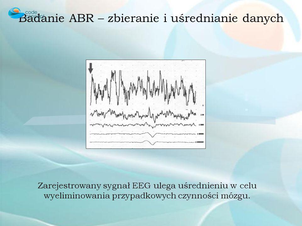 Badanie ABR – zbieranie i uśrednianie danych Zarejestrowany sygnał EEG ulega uśrednieniu w celu wyeliminowania przypadkowych czynności mózgu.