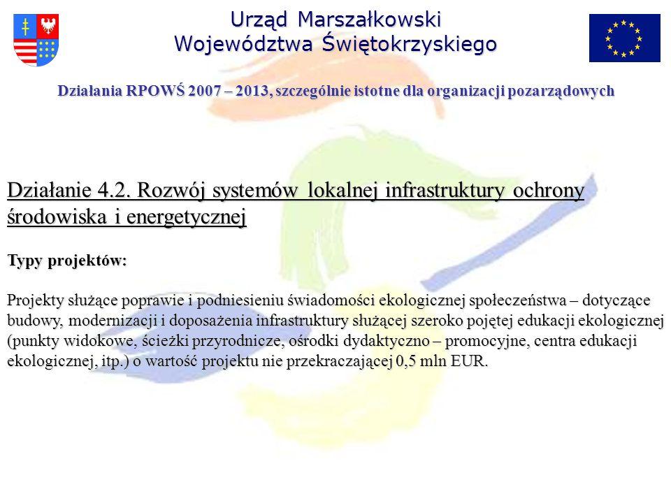 Działanie 4.2. Rozwój systemów lokalnej infrastruktury ochrony środowiska i energetycznej Typy projektów: Projekty służące poprawie i podniesieniu świ