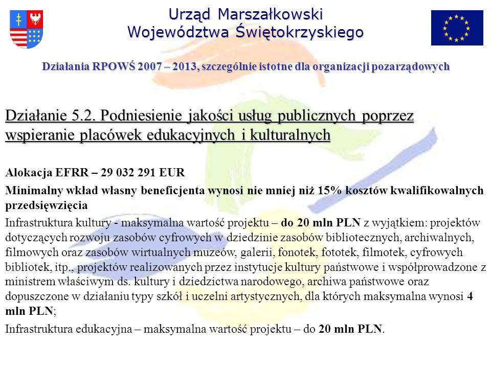 Działanie 5.2. Podniesienie jakości usług publicznych poprzez wspieranie placówek edukacyjnych i kulturalnych Alokacja EFRR – 29 032 291 EUR Minimalny