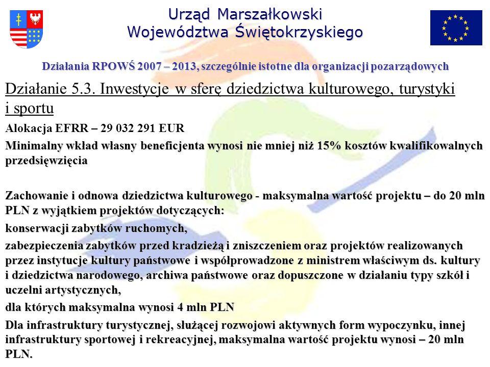 Działanie 5.3. Inwestycje w sferę dziedzictwa kulturowego, turystyki i sportu Alokacja EFRR – 29 032 291 EUR Minimalny wkład własny beneficjenta wynos