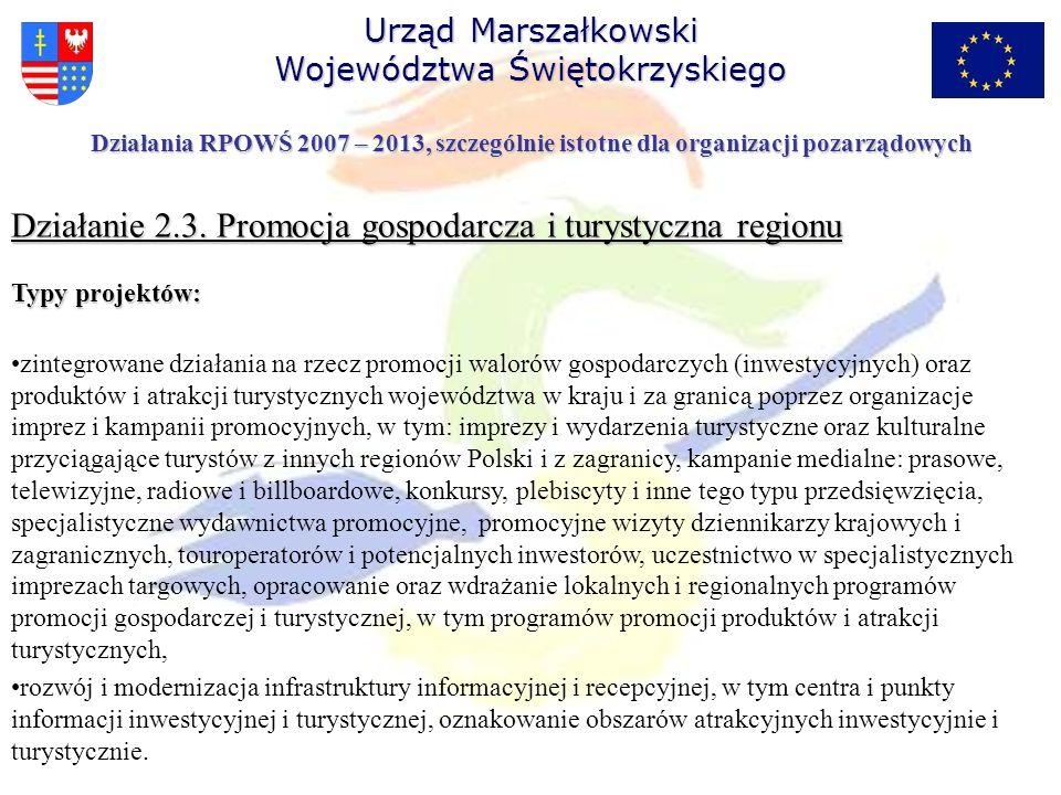 Działania RPOWŚ 2007 – 2013, szczególnie istotne dla organizacji pozarządowych Działanie 2.3. Promocja gospodarcza i turystyczna regionu Typy projektó