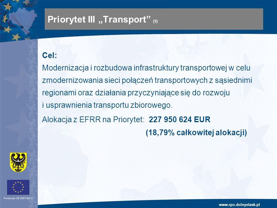 www.rpo.dolnyslask.pl Cel: Modernizacja i rozbudowa infrastruktury transportowej w celu zmodernizowania sieci połączeń transportowych z sąsiednimi regionami oraz działania przyczyniające się do rozwoju i usprawnienia transportu zbiorowego.