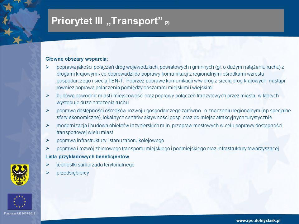 www.rpo.dolnyslask.pl Główne obszary wsparcia: poprawa jakości połączeń dróg wojewódzkich, powiatowych i gminnych (gł. o dużym natężeniu ruchu) z drog