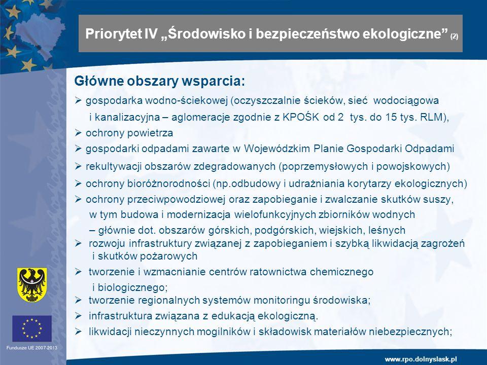 www.rpo.dolnyslask.pl Główne obszary wsparcia: gospodarka wodno-ściekowej (oczyszczalnie ścieków, sieć wodociągowa i kanalizacyjna – aglomeracje zgodn