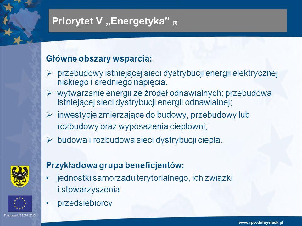 www.rpo.dolnyslask.pl Główne obszary wsparcia: przebudowy istniejącej sieci dystrybucji energii elektrycznej niskiego i średniego napięcia. wytwarzani