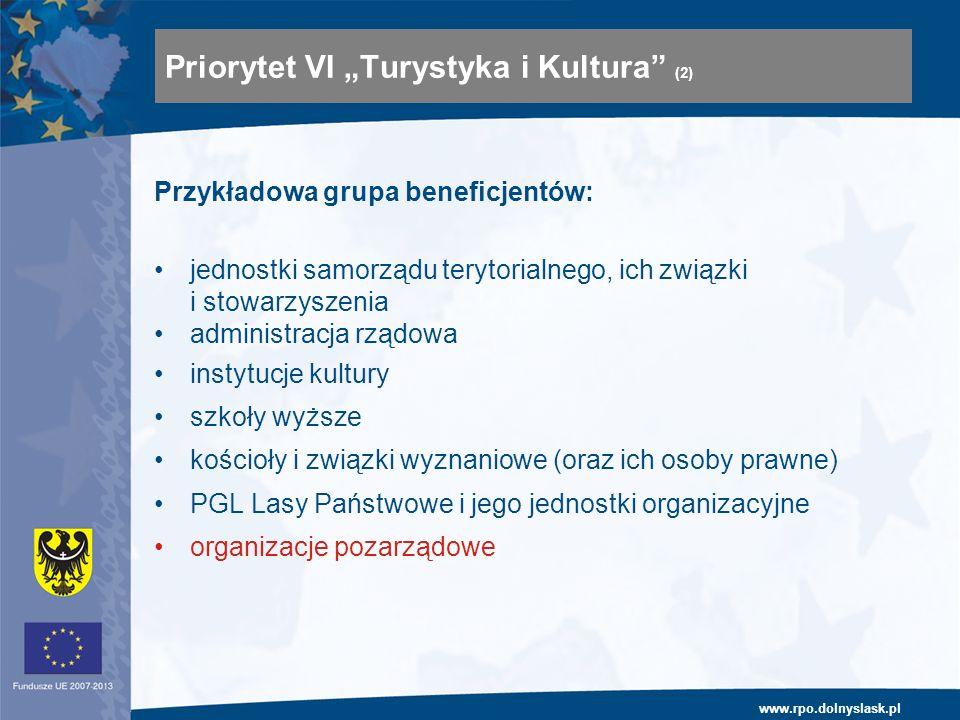 www.rpo.dolnyslask.pl Przykładowa grupa beneficjentów: jednostki samorządu terytorialnego, ich związki i stowarzyszenia administracja rządowa instytuc