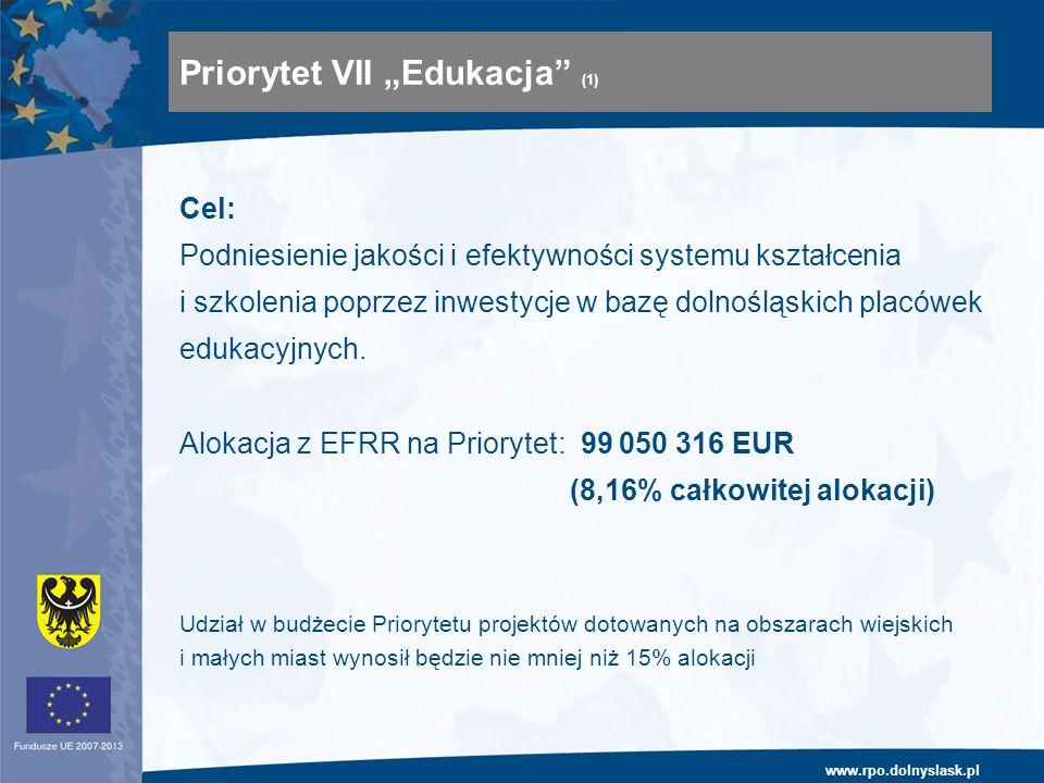 www.rpo.dolnyslask.pl Cel: Podniesienie jakości i efektywności systemu kształcenia i szkolenia poprzez inwestycje w bazę dolnośląskich placówek edukac