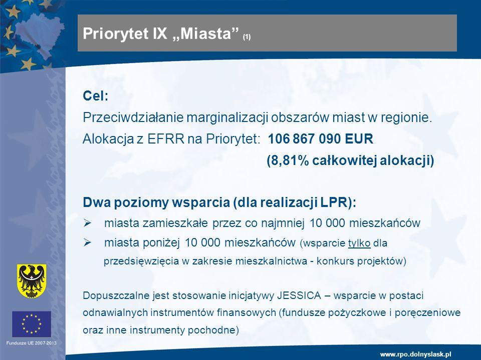www.rpo.dolnyslask.pl Cel: Przeciwdziałanie marginalizacji obszarów miast w regionie. Alokacja z EFRR na Priorytet: 106 867 090 EUR (8,81% całkowitej