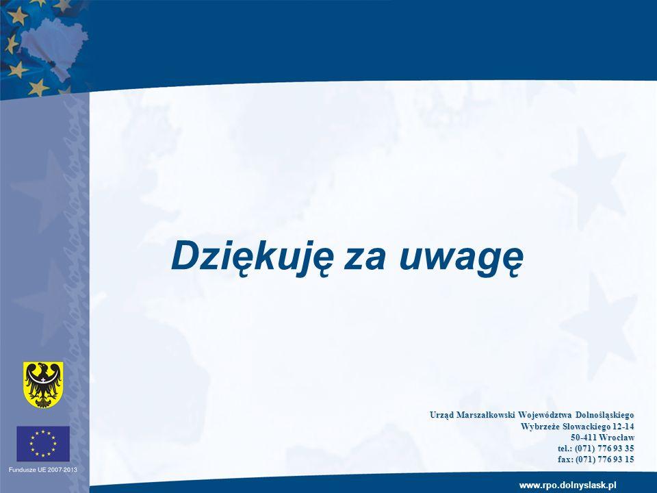 www.rpo.dolnyslask.pl Dziękuję za uwagę Urząd Marszałkowski Województwa Dolnośląskiego Wybrzeże Słowackiego 12-14 50-411 Wrocław 50-411 Wrocław tel.: (071) 776 93 35 tel.: (071) 776 93 35 fax: (071) 776 93 15