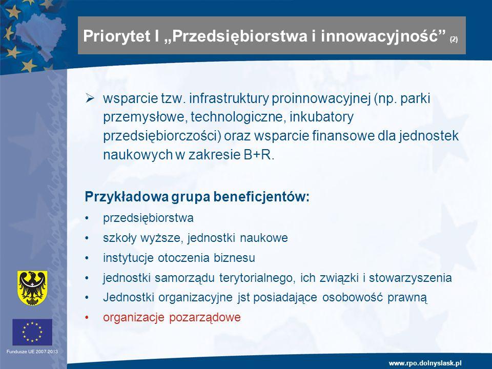 www.rpo.dolnyslask.pl wsparcie tzw. infrastruktury proinnowacyjnej (np. parki przemysłowe, technologiczne, inkubatory przedsiębiorczości) oraz wsparci
