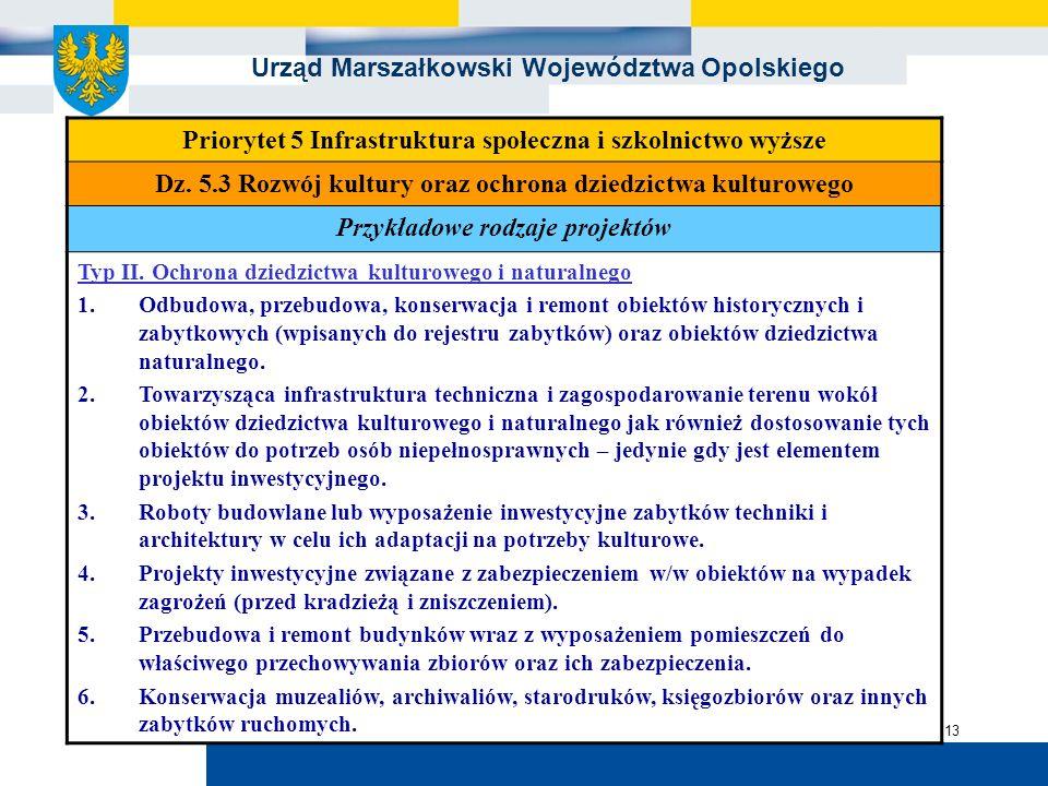 Urząd Marszałkowski Województwa Opolskiego 13 Priorytet 5 Infrastruktura społeczna i szkolnictwo wyższe Dz. 5.3 Rozwój kultury oraz ochrona dziedzictw