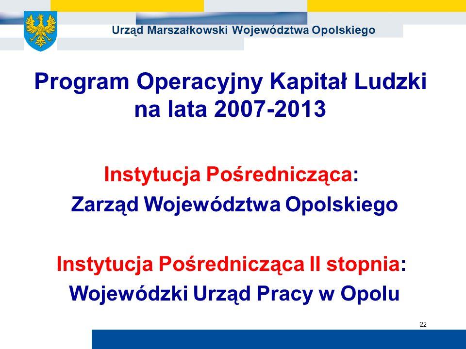 Urząd Marszałkowski Województwa Opolskiego 22 Instytucja Pośrednicząca: Zarząd Województwa Opolskiego Instytucja Pośrednicząca II stopnia: Wojewódzki Urząd Pracy w Opolu Program Operacyjny Kapitał Ludzki na lata 2007-2013