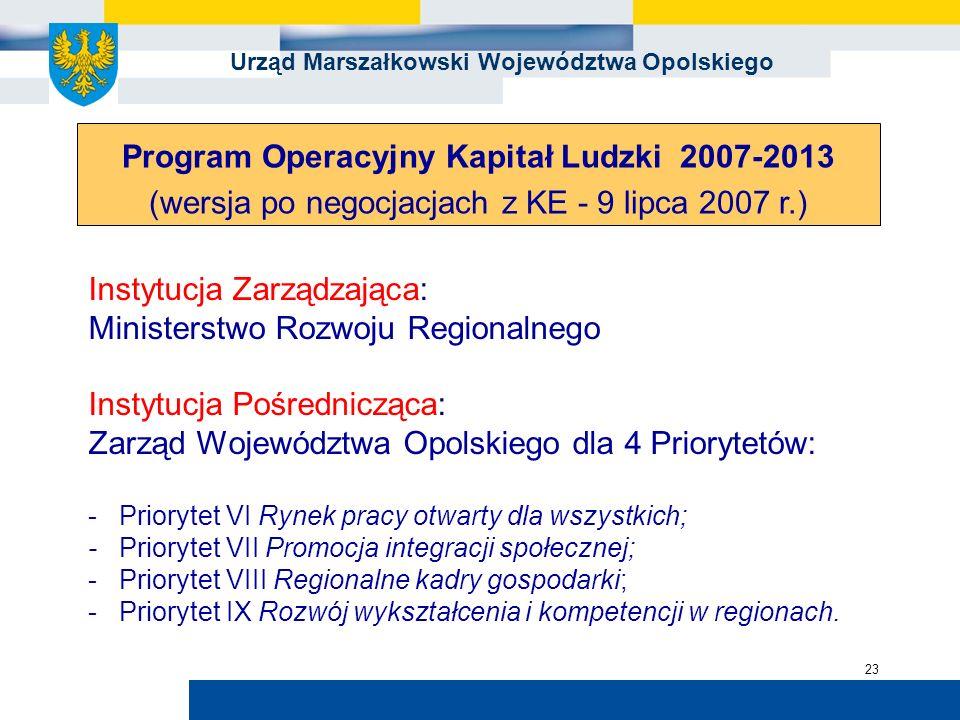 Urząd Marszałkowski Województwa Opolskiego 23 Instytucja Zarządzająca: Ministerstwo Rozwoju Regionalnego Instytucja Pośrednicząca: Zarząd Województwa