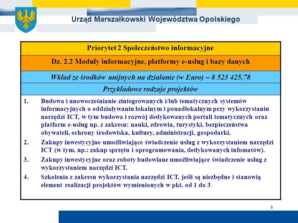 Urząd Marszałkowski Województwa Opolskiego 8 Priorytet 2 Społeczeństwo informacyjne Dz. 2.2 Moduły informacyjne, platformy e-usług i bazy danych Wkład