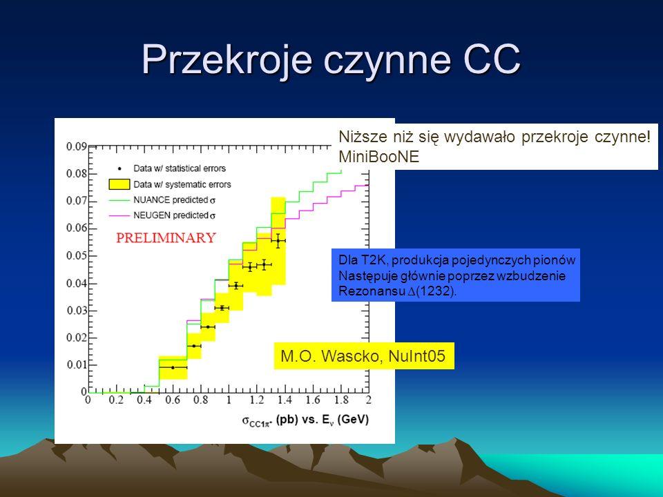 Przekroje czynne CC M.O. Wascko, NuInt05 Niższe niż się wydawało przekroje czynne! MiniBooNE Dla T2K, produkcja pojedynczych pionów Następuje głównie